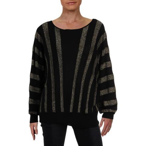 Trina Turk Womens Pullover Sweater Metallic Merino Wool - L