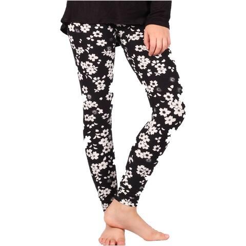 Lori & Jane Girls Black White Floral Print Soft Stretchy Leggings