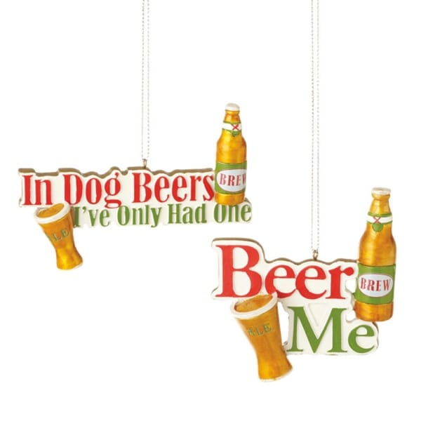 """4"""" Happy Hour Golden Brew Ale """"In Dog Beers I've Only Had One"""" Drinking Christmas Ornament"""