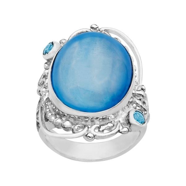 Sajen Blue Selenite and Blue Topaz Ring in Sterling Silver