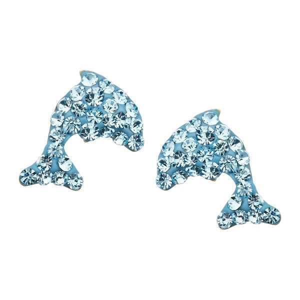 Dolphin Stud Earrings with Sky Blue Swarovski Elements Crystal in 14K Gold