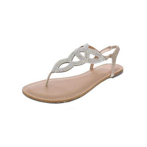887660d30a6b Material Girl Womens Swirlz T-Strap Sandals Metallic Embellished