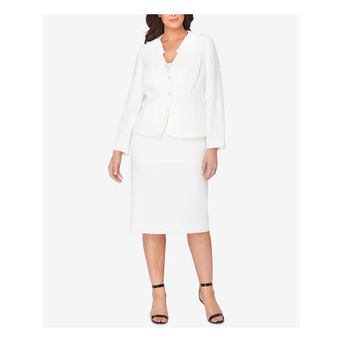 TAHARI Ivory Below The Knee Pencil Suit Skirt Suit Size 20W