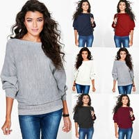 Loose Batwing Sleeve Knit Sweater Top
