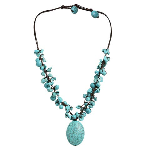 Handmade Clusters Howlite Oval Strand Necklace (Thailand)