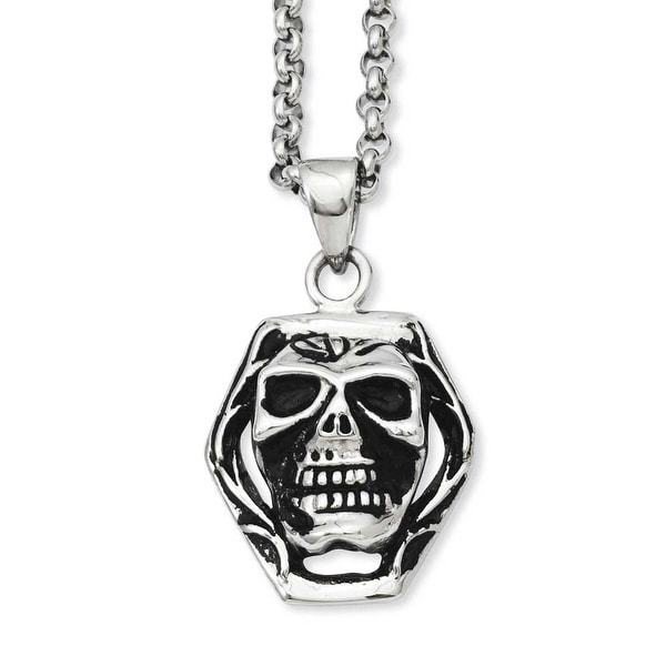 Stainless Steel Antiqued Skull Pendant 24in Necklace (3 mm) - 24 in