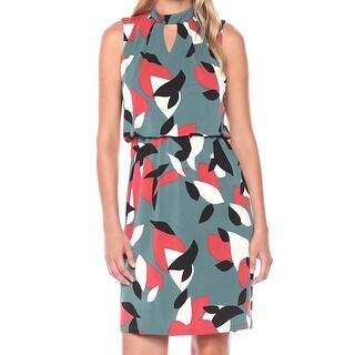Nine West Green Black Womens Size 6 Abstract-Print Sheath Dress