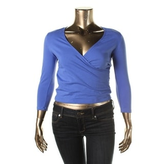 Energie Womens Juniors Fallon Pullover Top Faux Wrap 3/4 Sleeves