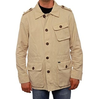 Faconnable Men Epaulet Button Up Parka Parka BE10 (LT Beige)