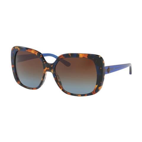Tory Burch TY7112 Womens Blue Frame Blue Lens Rectangle Sunglasses - Tortoise