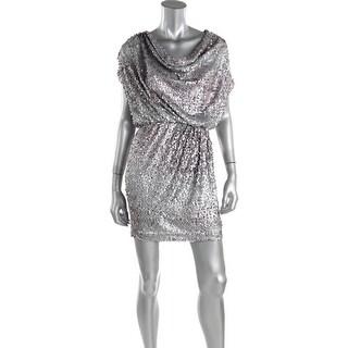 Aqua Womens Paillettes Blouson Mini Dress - 4