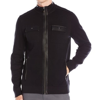 Calvin Klein NEW Black Mens Size Large L Full-Zip French Ribbed Jacket