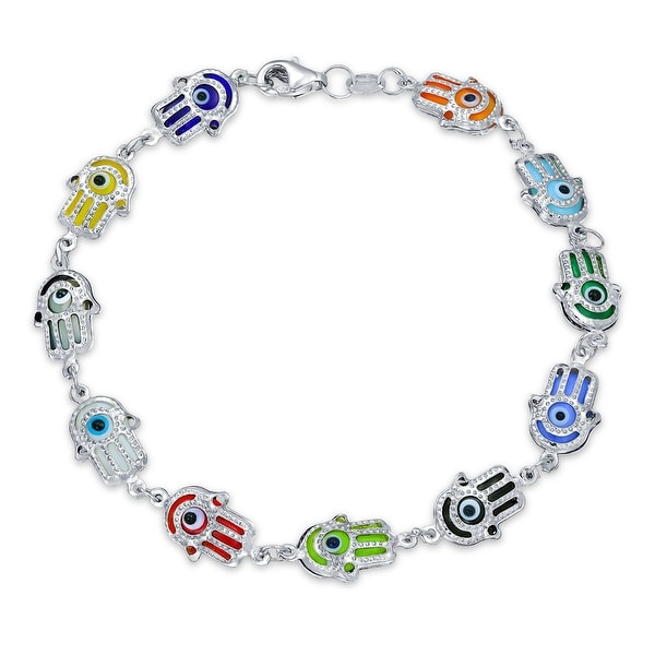 Turkish Colorful Multi Color Hamsa Hand Bracelet For Women for Protection and Good Luck 925 Sterling Silver