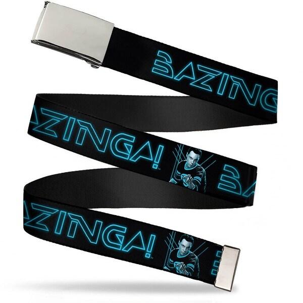 Blank Chrome Bo Buckle Sheldon Bazinga! Black Blue Glow Webbing Web Belt