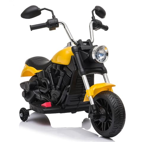 """Kids Electric Ride On Motorcycle With Training Wheels 6V Yellow - 7'6"""" x 9'6"""""""