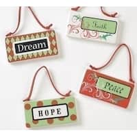 "3.75"" Holiday Cheer Inspirational ""Peace"" Porcelain Plaque Christmas Ornament - RED"