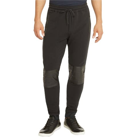 Kenneth Cole Mens Patched Knee Casual Jogger Pants, black, X-Large