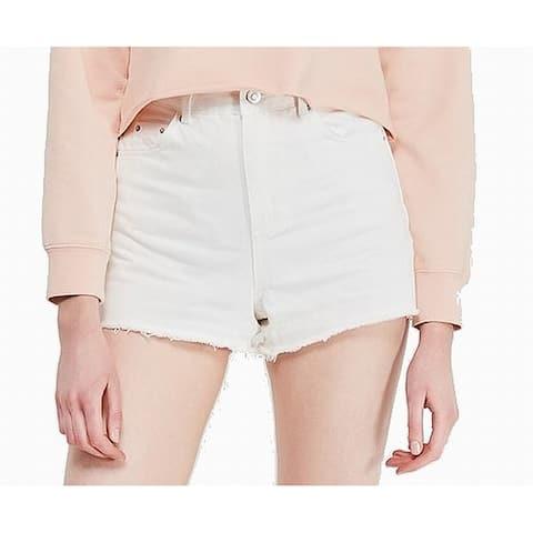 Topshop White Womens Size 8 Frayed Hem High-Waist Denim Shorts