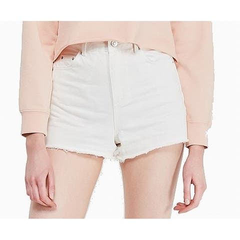Topshop Women's Shorts White Size 12 UK 16 Denim High-Waisted Mom