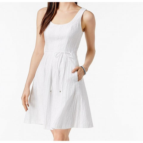 Pappagallo White Womens Size 16 Scoop Neck Belted A-Line Dress