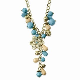 Goldtone Teal, Green and Cream Acrylic Beads Necklace - 16in