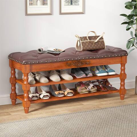 Shoe Bench Entryway, Solid Wood Storage Shoe Rack Lift Top Cushion - Brown