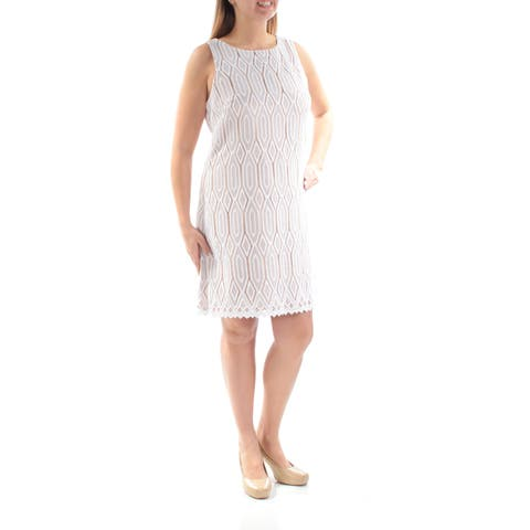 34ce678e VINCE CAMUTO Womens White Eyelet Sleeveless Jewel Neck Above The Knee Dress  Size: 16