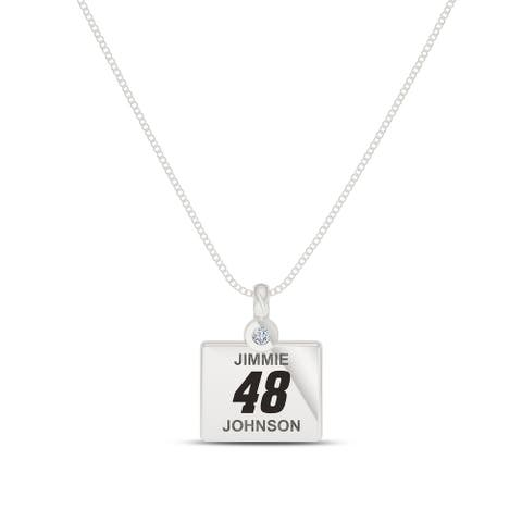 Jimmie Johnson Sterling Silver Diamond Pendant Necklace