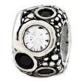 Italian Sterling Silver Reflections Black & White Swarovski Elements Bead - Thumbnail 0