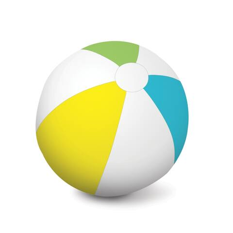 White Yellow Inflatable 6 Panel Swimming Pool Beach Ball, 46-Inch