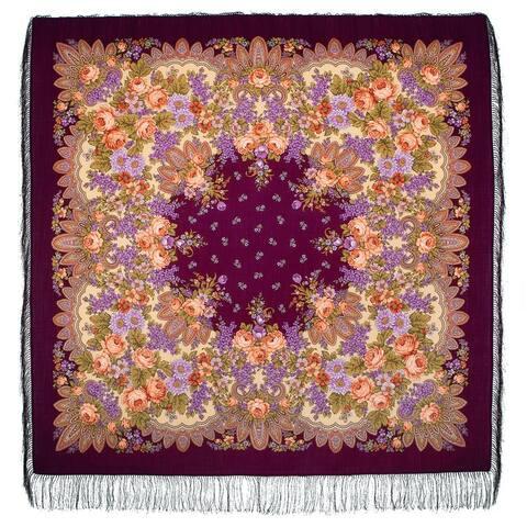 Russian Pavlovo Posad Lilac Scarf /Shawl W/Tassels