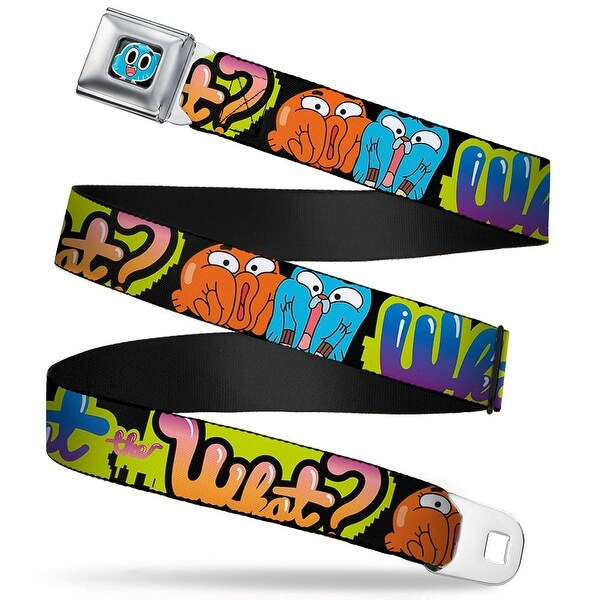 Gumball Face Close Up Black Full Color Darwin & Gumball What The What? Seatbelt Belt