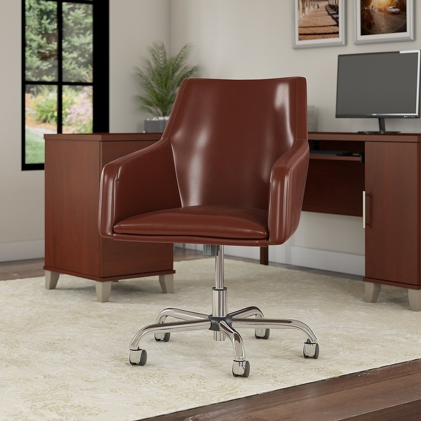 """Copper Grove Shumen Mid-back Leather Box Chair - 24.41""""L x 24.80""""W x 34.45""""H. Opens flyout."""