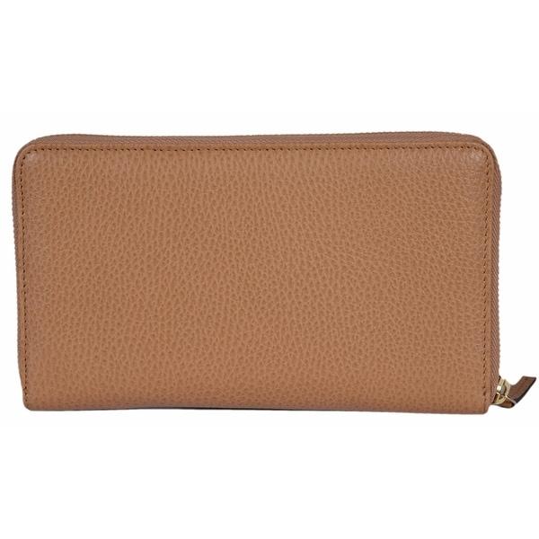 Gucci 321117 XL Whisky Beige Leather Zip Around Travel Wallet Clutch