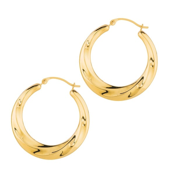 Mcs Jewelry Inc 14 KARAT YELLOW GOLD ROUND HOOP EARRINGS WITH DESIGN