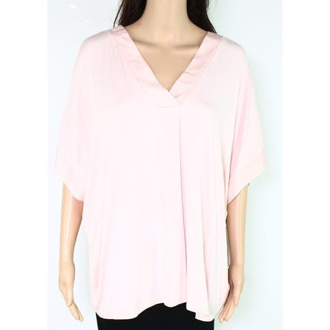 Donna Kolman Womens Tops Pink Size 2X Plus V neck Draped Sleepshirt