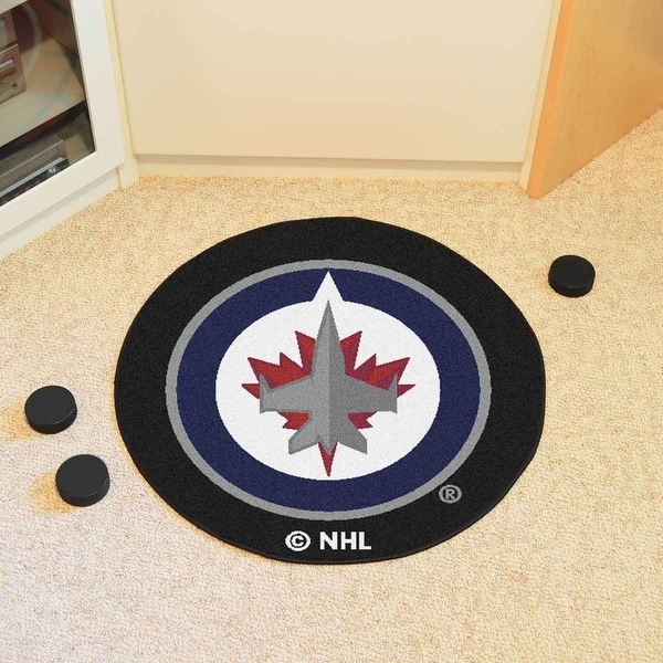a57d141112c Shop NHL - Winnipeg Jets Puck Mat 27 Inches diameter - Free Shipping On  Orders Over  45 - Overstock.com - 20665246