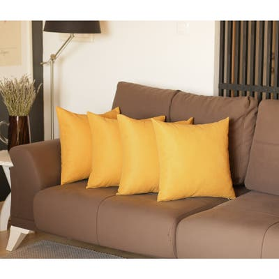 Decorative Square Solid Color Throw Pillow Cover (Set of 4)