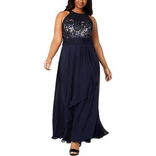 Link to Calvin Klein Womens Evening Dress Sequined Formal - Navy Similar Items in Dresses