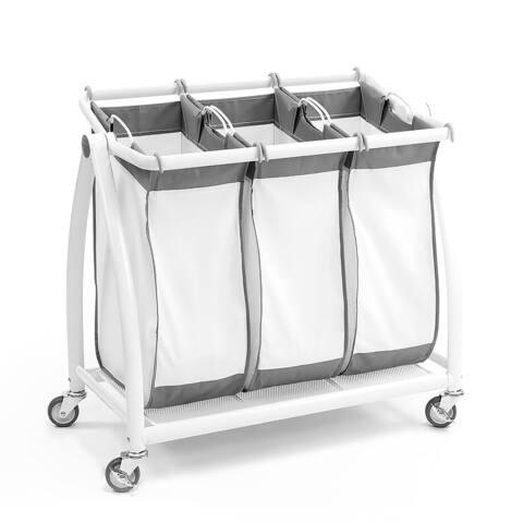 "Seville Classics Premium 3-Bag Heavy-Duty Tilt Laundry Hamper Sorter Cart, 34.4"" W x 17.8"" D x 33"" H"