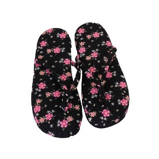 Charter Club Black Pink Floral Printed Slippers (-) L