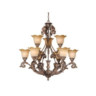Vaxcel Lighting MT-CHU009 Monte Carlo 9 Light Two Tier Chandelier with Frosted Glass Shades - 33.25 Inches Wide