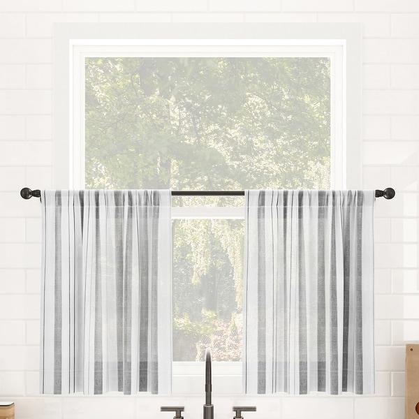 Clean Window Vintage Stripe Anti-Dust Sheer Cafe Curtain Pair. Opens flyout.