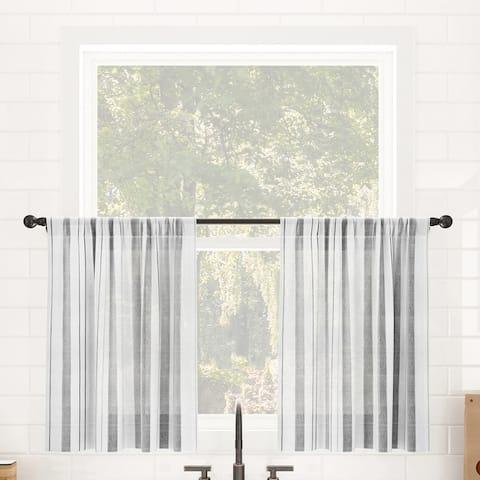 Clean Window Vintage Stripe Anti-Dust Sheer Cafe Curtain Pair