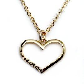Julieta Jewelry Best Friends Heart Outline Charm Necklace