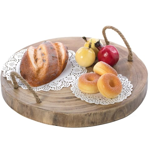 Wood Round Tray Serving Platter Board with Rope Handles