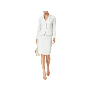 Le Suit Womens Plus Seychelles Skirt Suit Shawl-Collar Tweed