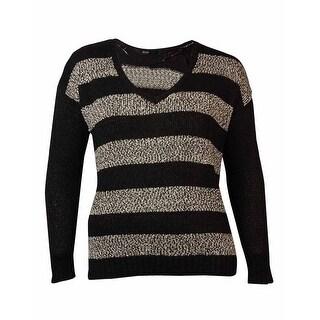 Kensie Women's Long-sleeve V-neck Striped Sweater