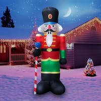 Holidayana Christmas Inflatable Giant 8 Ft. Penguin In Santa Hat Christmas Inflatable Featuring Lighted Interior
