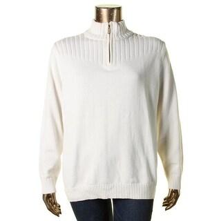 Karen Scott Womens Plus 1/2 Zip Sweater Ribbed Trim Mock Turtleneck